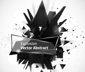 Glass banner with black explosion effect background vector 01