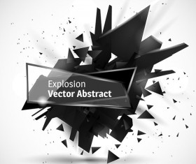 Glass banner with black explosion effect background vector 02