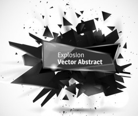 Glass banner with black explosion effect background vector 03