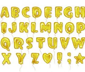 Golden balloon alphabet font vector