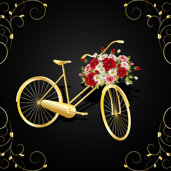 Golden bicycle with flower basket vector 01