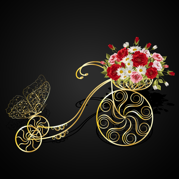 Golden bicycle with flower basket vector 02