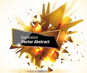 Golden explosion debris abstract background vector 01