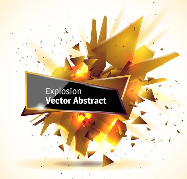 Golden explosion debris abstract background vector 01