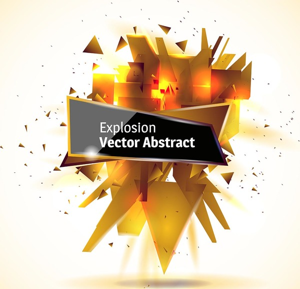 Golden explosion debris abstract background vector 04