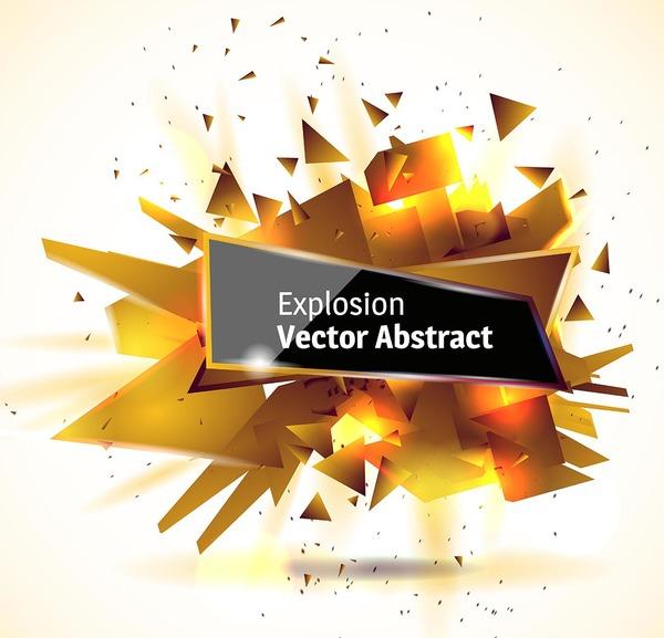 Golden explosion debris abstract background vector 05