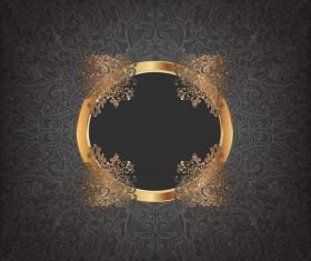 Golden frame with luxury dark background vector 05