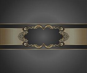 Golden frame with luxury dark background vector 06