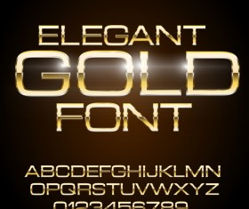 Golden shining alphabet with number vector