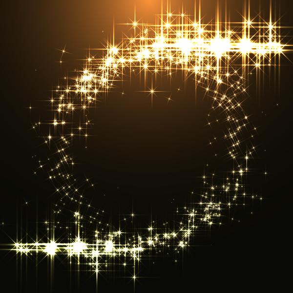 Golden stars light with dark background vector