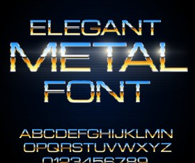 Golden with blue metal alphabet with number shiny vector