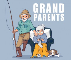 Grandparents and dog vector