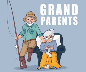 Grandparents and fishing rod vector