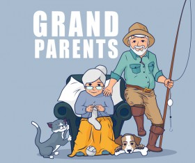 Grandparents and pets vector
