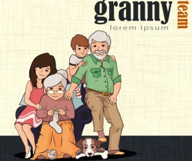 Granparents and kids vector