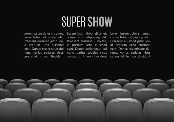Gray Seats With Movie Theater Background Vector 01 Free Download