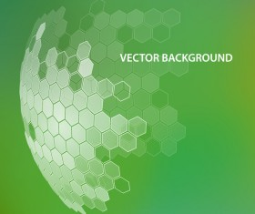 Green background with hexagonal spherical vector