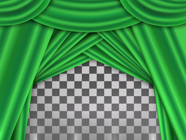 Green curtains background illustration vector
