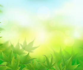Green leaves with blurs background vectors