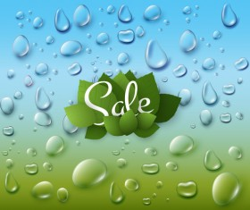 Green leaves with dew drop and sale background vector