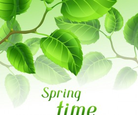 Green leaves with spring backgrounds art vector 01