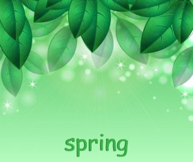 Green leaves with spring backgrounds art vector 03