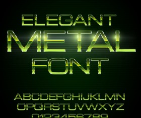 Green metal alphabet with number shiny vector