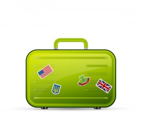 Green polycarbonate suitcase vector material 01