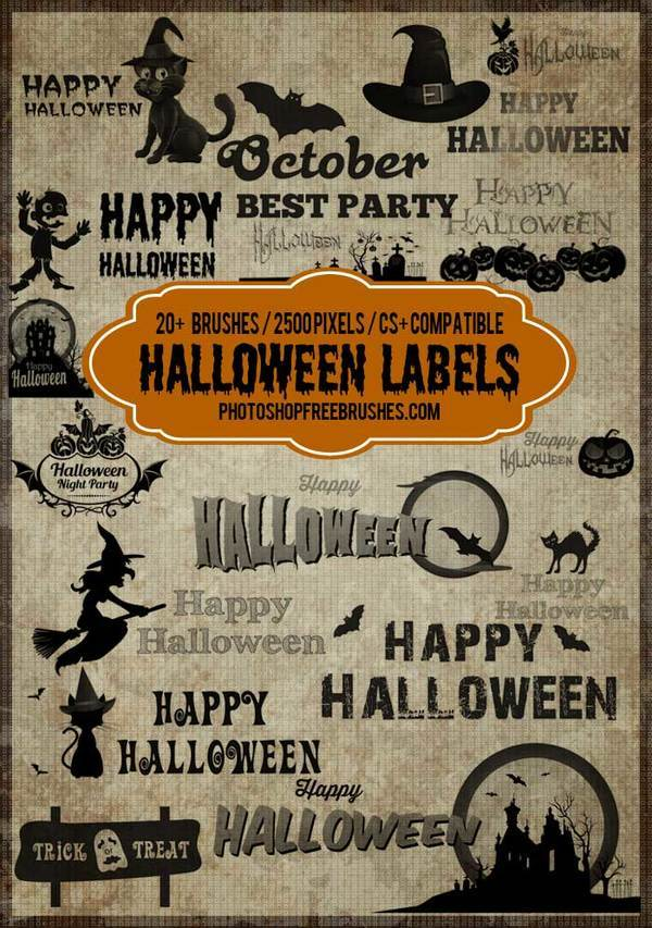 Halloween Tag and Label photoshop brushes
