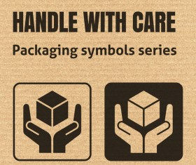 Handle with care packaging icons series vector