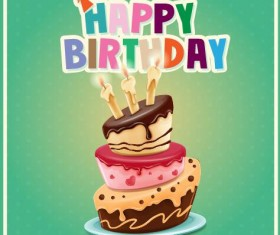 Happy birthday cards with cake vector 01