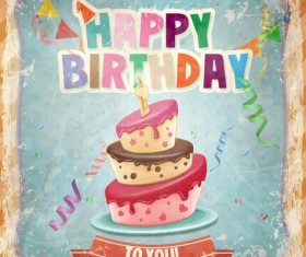 Happy birthday cards with cake vector 02
