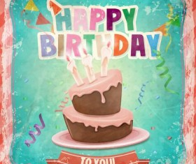 Happy birthday cards with cake vector 03