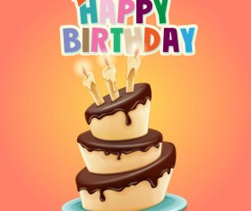 Happy birthday cards with cake vector 05