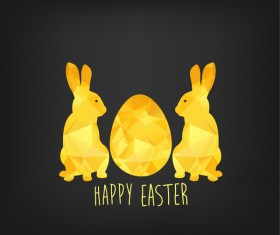 Happy easter greeting card with polygon golden bunny and egg vector 01