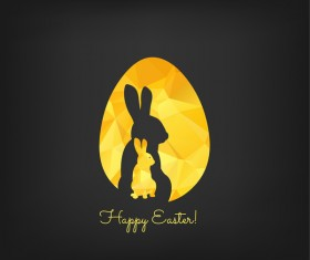Happy easter greeting card with polygon golden bunny and egg vector 02