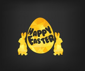 Happy easter greeting card with polygon golden bunny and egg vector 03