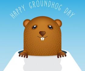 Happy groundhog day cartoon vectors 01