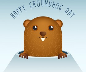 Happy groundhog day cartoon vectors 02