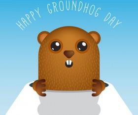 Happy groundhog day cartoon vectors 04
