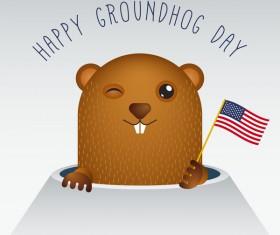 Happy groundhog day cartoon vectors 07