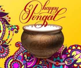 Happy pongal festival with decor floral vector material 01