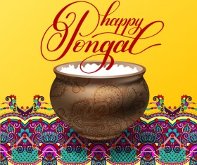 Happy pongal festival with decor floral vector material 02