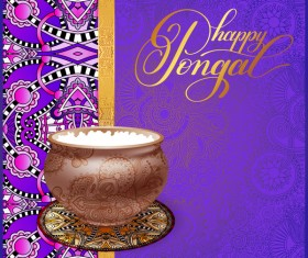 Happy pongal festival with decor floral vector material 04
