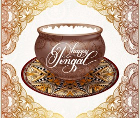 Happy pongal festival with decor floral vector material 05