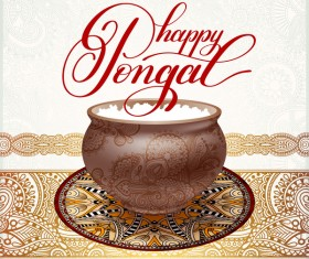Happy pongal festival with decor floral vector material 06