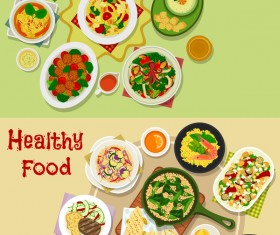 Healthy with delicious food vector template 01