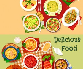 Healthy with delicious food vector template 02