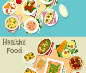 Healthy with delicious food vector template 03