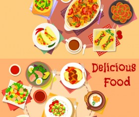 Healthy with delicious food vector template 04